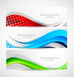 Set of wavy banners vector
