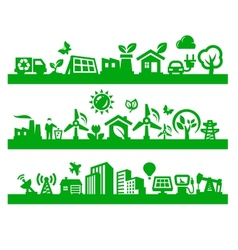 Green city icons vector