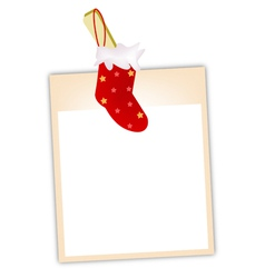 Blank photos with christmas stocking vector