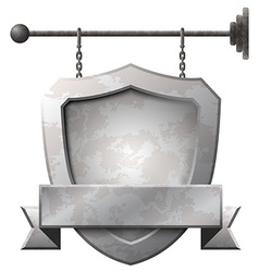 Shield shaped rusty metal signboard vector