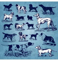 Dogs vintage set vector