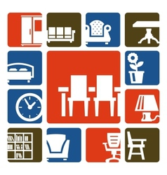 Furniture icons set vector