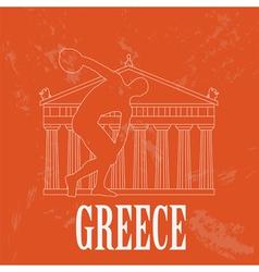 Greece landmarks retro styled image vector