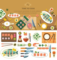 Dining table with dishes vector