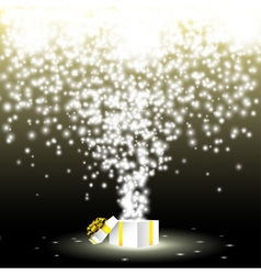 Gift box with fireworks from lights vector