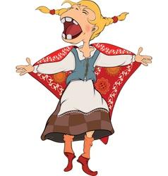 The cheerful girl cartoon vector
