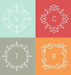 Floral outline frames vector