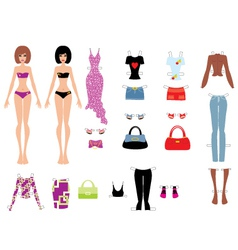 Paper dolls with clothes vector