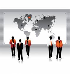 Business peoples silhouettes world map vector