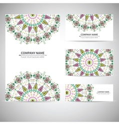 Colorful geometric card template in aztec style vector