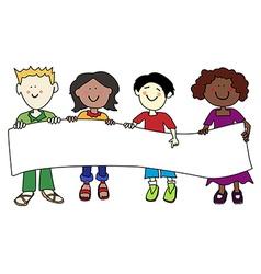 Ethnic diversity kids and banner vector