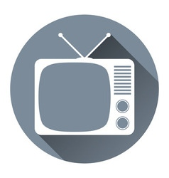 Hipster tv set icon flat design style circle frame vector