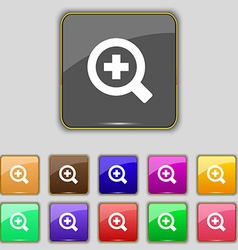 Magnifier glass zoom tool icon sign set with vector