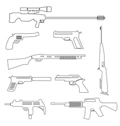 Firearms weapons and guns outline icons eps10 vector