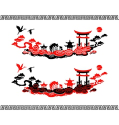 Set of chinese landscapes vector