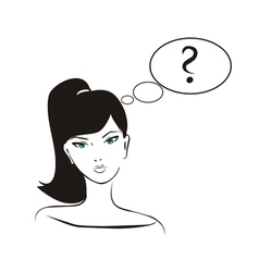Thinking girl with question mark in bubble speech vector