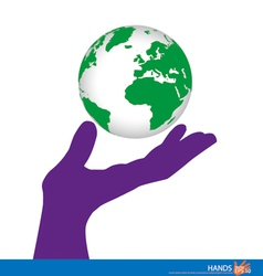 Hand holding a green earth vector