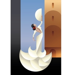 Spain flamenco dancer on city landscape vector