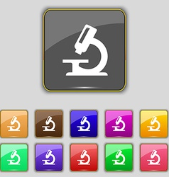 Microscope icon sign set with eleven colored vector
