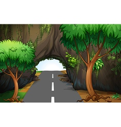 A road under the cave vector