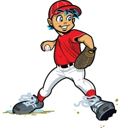 Boy baseball pitcher vector