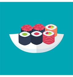 Sushi rolls with caviar tuna and salmon plate vector