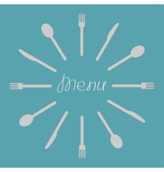 Fork knife spoon round frame menu cover template vector