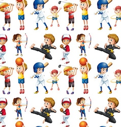 Seamless children and sports vector