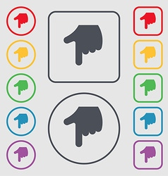 Pointing hand icon sign symbol on the round and vector