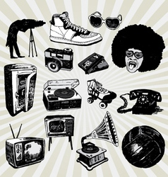Retro black and white vector
