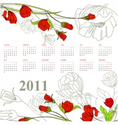 Calendar for 2011 with rose vector