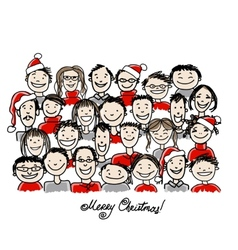 Christmas party with group of people sketch for vector