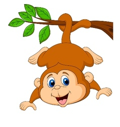 Cute monkey cartoon hanging on a tree branch vector