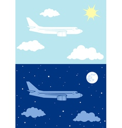 Aircplane flying in the sky vector