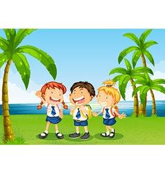 Three pupils at the riverbank vector