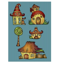Set of color cartoon houses vector