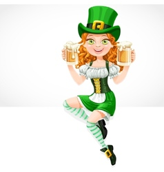 Cute red-haired girl leprechaun sitting on the vector