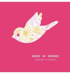Flowers outlined bird silhouette pattern frame vector