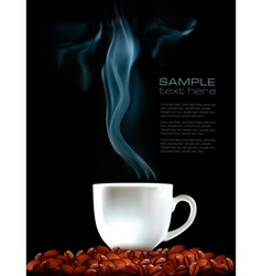 Background with cup of coffee and coffee grains vector