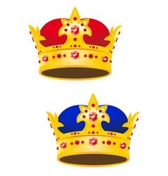 Golden king crown with gems vector