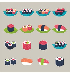 Sushi set over beige vector