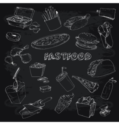 Fastfood collectionon chalkboard vector