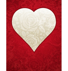 Lovely red heart with roses vector