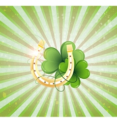 Horseshoe and clover vector
