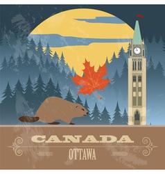 Canada landmarks retro styled image vector