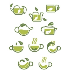 Green herbal tea icons vector