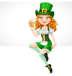 Girl leprechaun sitting on the banner white and vector