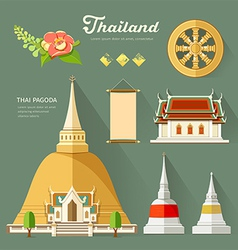 Thai pagoda with temple wheel of life of thailand vector