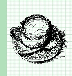 Sketch drawing of coffee on graph paper vector