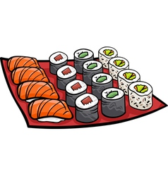 Sushi lunch cartoon vector